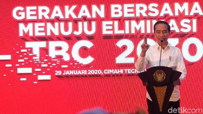 Presiden Jokowi menghadiri acara pencanangan Gerakan Maju Bersama Menuju Eliminasi Tuberkulosis (TBC) 2030 di Cimahi, Jawa Barat.