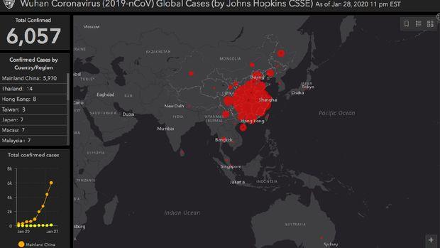Belum ada titik merah di wilayah Indonesia, yang artinya belum ada kasus positif virus corona.