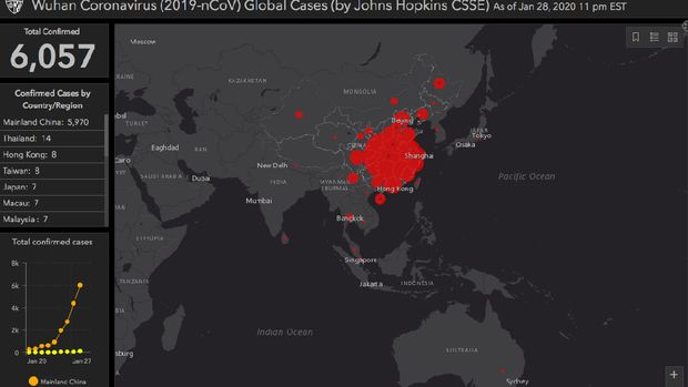 Peta persebaran virus corona. Belum tampak satupun titik merah di wilayah Indonesia.