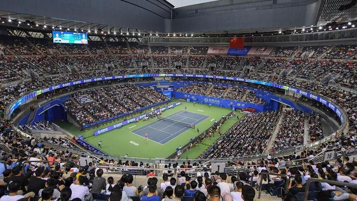 WUHAN, CHINA - SEPTEMBER 28:  A general view of the stadium prior to the 2019 Dongfeng Motor Wuhan Open at Optics Valley International Tennis Center on September 28, 2019 in Wuhan, China.  (Photo by Zhe Ji/Getty Images)
