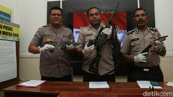 Polresta Jayapura Kota mengamankan 4 pucuk senpi ilegal (Wilpret Siagian/detikcom)