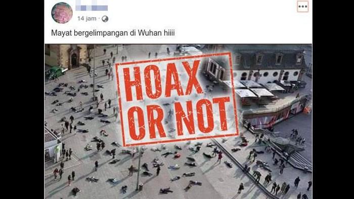 Hoax mayat bergelimpangan di China disebut karena virus corona.
