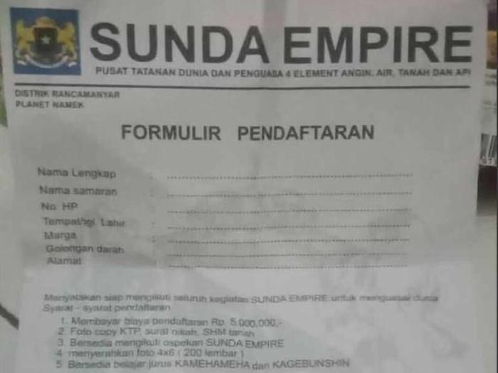 Formulir pendaftaran Sunda Empire