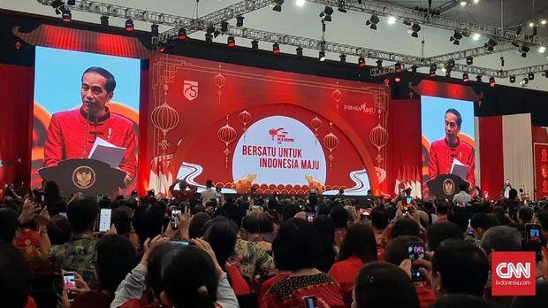 Presiden Joko Widodo menghadiri perayaan Imlek di Tangerang Selatan.