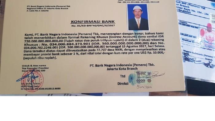 DOK. Polres Kutai Timur/ dokumen rekening duit Rp 720 triliun kaki tangan King of The King di Kaltim