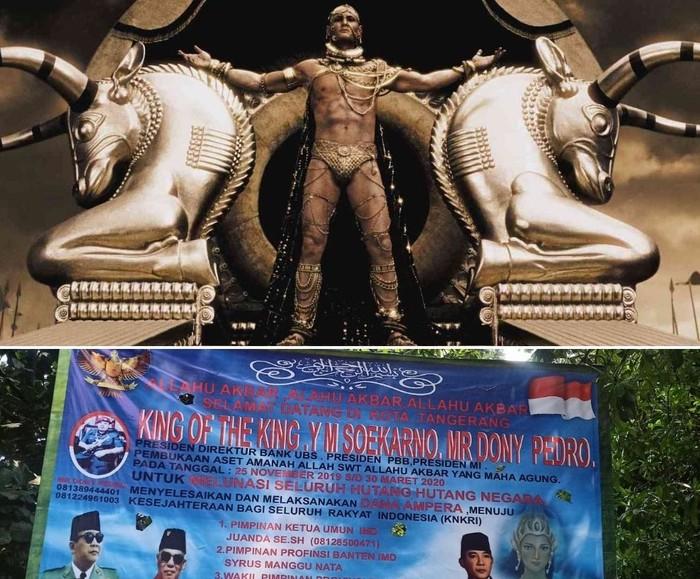Ilustrasi king of the king: Xerxes I dalm film 300 dan spanduk king of the king di Tanggerang (Repro detikcom)