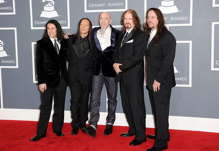 LOS ANGELES, CA - FEBRUARY 12:  (L-R) Mike Mangini, John Myung, Jordan Rudess, James LaBrie and John Petrucci of the band Dream Theater arrive at the 54th Annual GRAMMY Awards held at Staples Center on February 12, 2012 in Los Angeles, California.  (Photo by Jason Merritt/Getty Images)