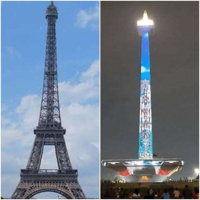 Perbandingan Monas dan Menara Eiffel (detikcom)