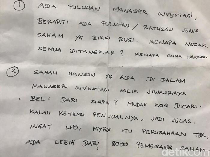 Surat yang ditunjukkan tersangka kasus dugaan korupsi kasus dugaan korupsi PT Jiwasraya, Benny Tjokrosaputro.