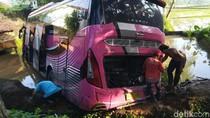 Begini Potret Bus yang Terjun ke Kolam Ikan di Ciamis