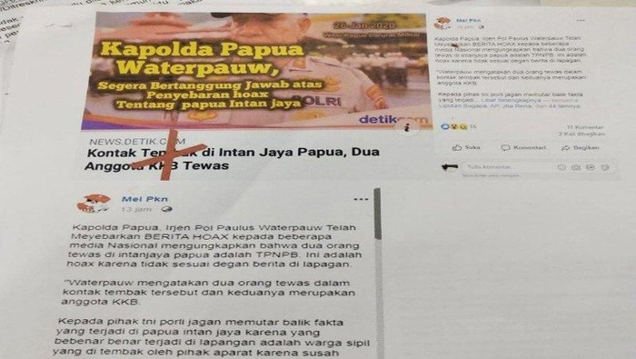DOK. ANTARA/ Postingan yang menyebut Kapolda Papua hoax