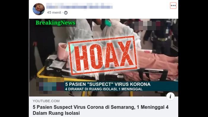Hoax suspek virus corona meninggal di Semarang.