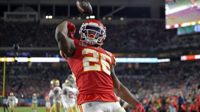 Kansas City Chiefs Damien Williams celebrates his touchdown against the San Francisco 49ers during the second half of the NFL Super Bowl 54 football game Sunday, Feb. 2, 2020, in Miami Gardens, Fla. (AP Photo/Mark J. Terrill)