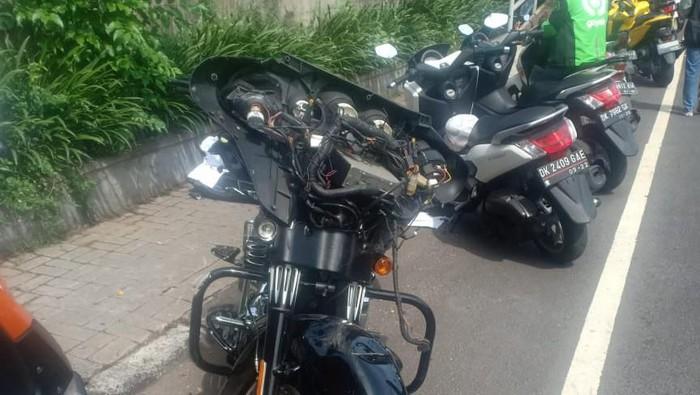 DOK. ISTIMEWA/ Motor Harley-Davidson yang tabrak pelajar SD di Jl By Pass, Ngurah Rai, Bali,