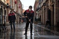 WUHAN, CHINA - FEBRUARY 03:  (CHINA OUT) A person wears a protective mask as he walks down an empty street on February 3, 2020 in Wuhan, Hubei province, China. The number of those who have died from the Wuhan coronavirus, known as 2019-nCoV, in China climbed to 361 and cases have been reported in other countries including the United States, Canada, Australia, Japan, South Korea, India, the United Kingdom, Germany, France, and several others.  (Photo by Getty Images)