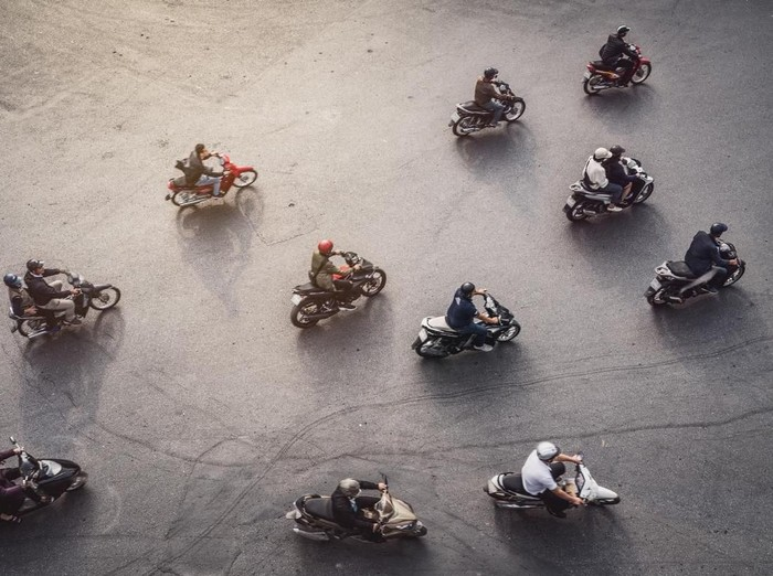 Aerial View of a traffic in Hanoi, Vietnam