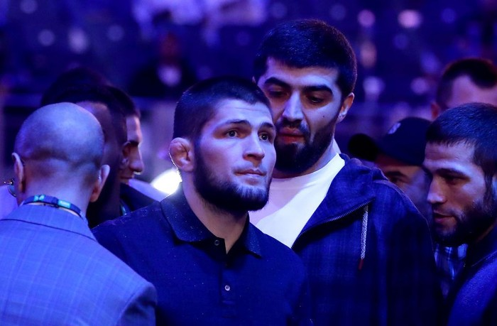DIRIYAH, SAUDI ARABIA - DECEMBER 07: UFC fighter Khabib Nurmagomedov is seen ringside during the of the WBC World Heavyweight Eliminator fight between Alexander Povetkin and Michael Hunter during the Matchroom Boxing Clash on the Dunes show at the Diriyah Season on December 07, 2019 in Diriyah, Saudi Arabia (Photo by Richard Heathcote/Getty Images)