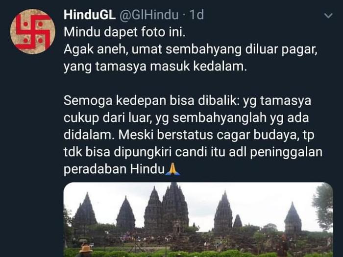 Viral umat Hindu sembahyang di luar pagar Candi Prambanan, Sleman, Rabu (5/2/2020).