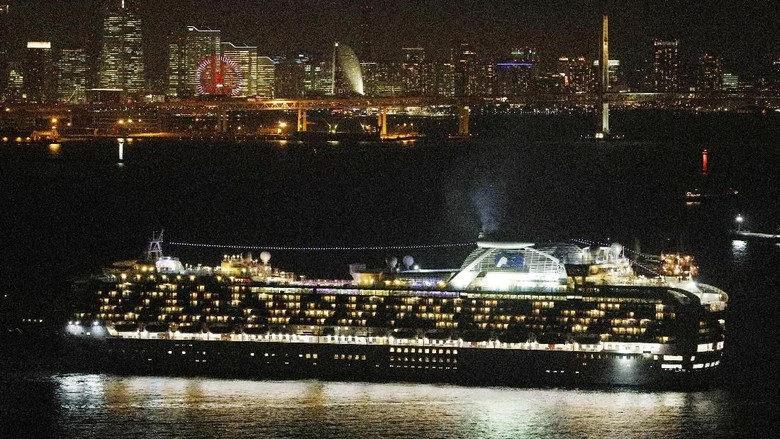 FILE - In this Monday Feb. 3, 2020, file photo, cruise ship Diamond Princess is anchored off Yokohama Port in Yokohama, south of Tokyo, upon its arrival. Japanese health officials conducted massive medical checks Tuesday on all 3,700 people on the cruise ship that returned to the country after carrying one passenger who tested positive for the new coronavirus. Health authorities are scrambling to halt the spread of a new virus that has killed hundreds in China. But with important details about the illness and how it spreads still unknown, officials and medical personnel are struggling. (Kyodo News via AP)/Kyodo News via AP)