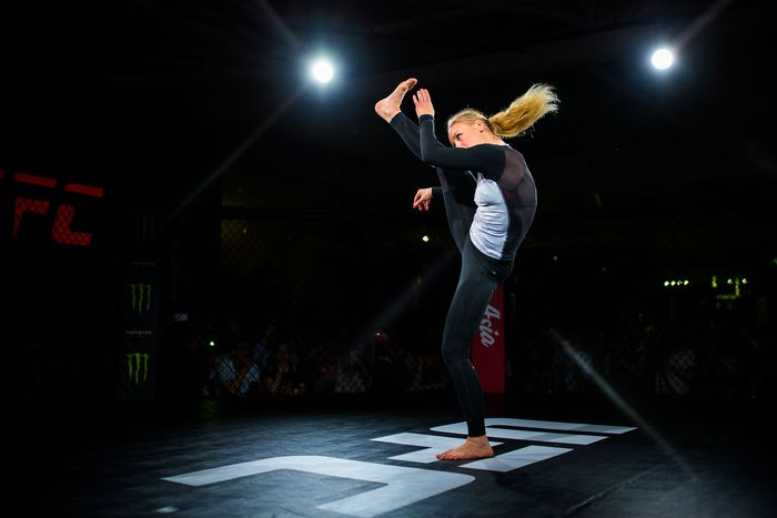 SHANGHAI, CHINA - JUNE 21: UFC fighter Valentina Shevchenko in action during workout session of Fan Experience at UFC Performance Institute on June 21, 2019 in Shanghai, China. (Photo by Yifan Ding/Getty Images)