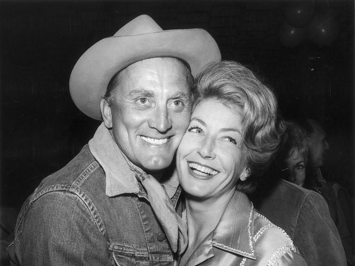 circa 1963:  The actor Kirk Douglas with his wife Anne Buydens and their son Peter Vincent Douglas.  (Photo by Keystone/Getty Images)