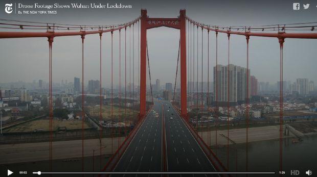 Jalanan Kota Wuhan kosong dari kendaraan
