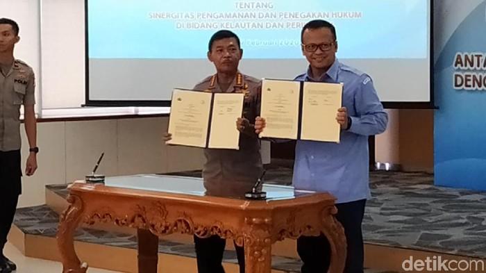 Kapolri dan Menteri Kelautan dan Perikanan, Edhy Prabowo.
