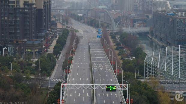 Jalanan Kota Wuhan yang kosong
