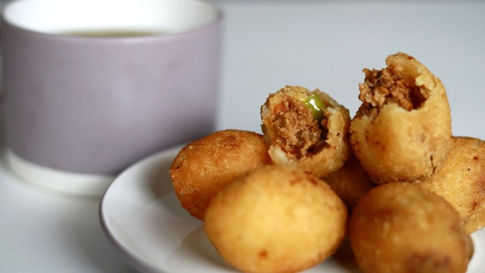 Combro, Indonesian traditional food, and a cup of tea.