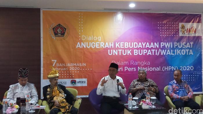 Menko PMK Muhadjir Effendy di HPN 2020. (Farih MS/detikcom)