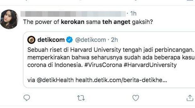Sebuah penelitian bahkan memprediksi seharusnya sudah ada kasus positif di Indonesia, walau kenyataannya masih tidak ada kasus positif. The power of kerokan?