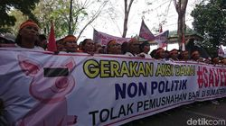 Demo Save Babi di Depan DPRD Sumut, Lalin Macet