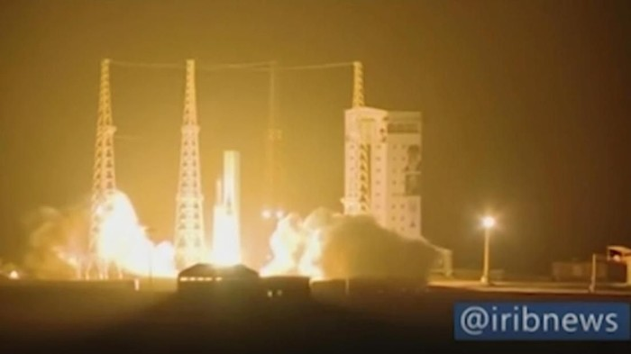 In this image taken from video an Iranian rocket carrying a satellite is launched from Imam Khomeini Spaceport in Iran's Semnan province, some 230 kilometers (145 miles) southeast of Iran's capital, Tehran, Sunday, Feb. 9, 2020. The rocket failed to put the satellite into orbit on Sunday, state television reported, the latest setback for a program the U.S. claims helps Tehran advance its ballistic missile program. (IRIB via AP)