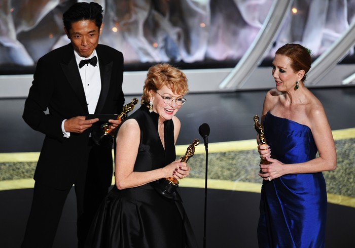 HOLLYWOOD, CALIFORNIA - FEBRUARY 09: (L-R) Kazu Hiro, Vivian Baker, and Anne Morgan accept the Makeup and Hairstyling award for Bombshell onstage during the 92nd Annual Academy Awards at Dolby Theatre on February 09, 2020 in Hollywood, California. (Photo by Kevin Winter/Getty Images)