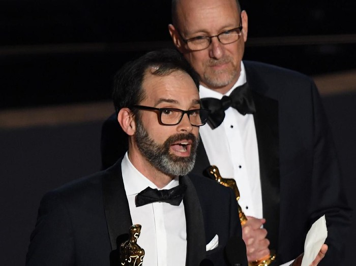 HOLLYWOOD, CALIFORNIA - FEBRUARY 09: (L-R) Andrew Buckland and Michael McCusker accept the Film Editing award for Ford v Ferrari onstage during the 92nd Annual Academy Awards at Dolby Theatre on February 09, 2020 in Hollywood, California. (Photo by Kevin Winter/Getty Images)