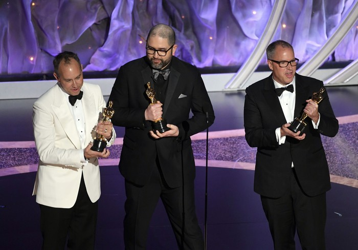 HOLLYWOOD, CALIFORNIA - FEBRUARY 09: (L-R) Jonas Rivera, Josh Cooley, and Mark Nielsen accept the Animated Feature Film award for Toy Story 4 onstage during the 92nd Annual Academy Awards at Dolby Theatre on February 09, 2020 in Hollywood, California. (Photo by Kevin Winter/Getty Images)