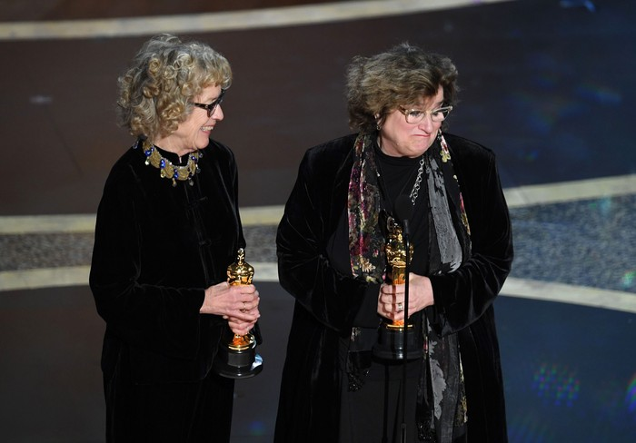 HOLLYWOOD, CALIFORNIA - FEBRUARY 09: (L-R) Nancy Haigh and Barbara Ling accept the Production Design award for Once Upon a Time...in Hollywood onstage during the 92nd Annual Academy Awards at Dolby Theatre on February 09, 2020 in Hollywood, California. (Photo by Kevin Winter/Getty Images)