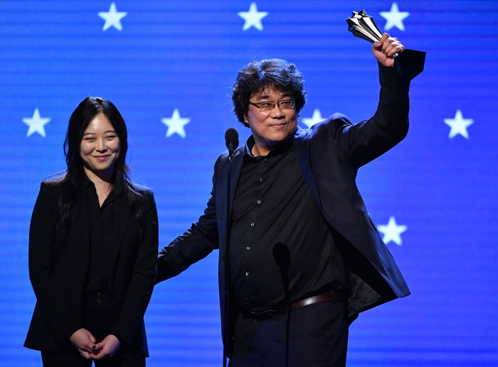 SANTA BARBARA, CALIFORNIA - JANUARY 23: Sharon Choi and Bong Joon-ho speak onstage at the Outstanding Directors of the Year during the 35th Santa Barbara International Film Festival at the Arlington Theatre on January 23, 2020 in Santa Barbara, California. (Photo by Matt Winkelmeyer/Getty Images for SBIFF)