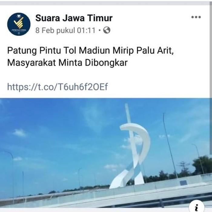 Tugu di interchange menuju Gerbang Tol Madiun viral di media sosial. Netizens mengaitkan tugu tersebut dengan lambang palu arit yang identik dengan Partai Komunis Indonesia (PKI).