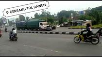 Bak Film Action, Truk Gandeng Tabrak-Seret Mobil di Exit Tol Bawen