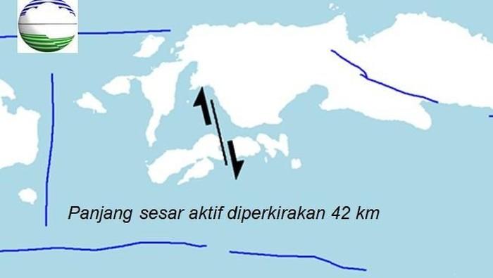 Sesar aktif diperkirakan sepanjang 42 km.