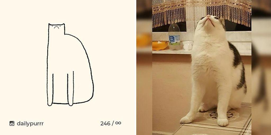 ilustrasi kucing sederhana ini bisa mengundang tawa