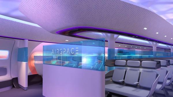 Airbus juga merilis serangkaian rendering desain kabin MAVERIC. Kebisingan mungkin akan berkurang karena mesin dipasang di atas badan pesawat (Foto: Airbus)