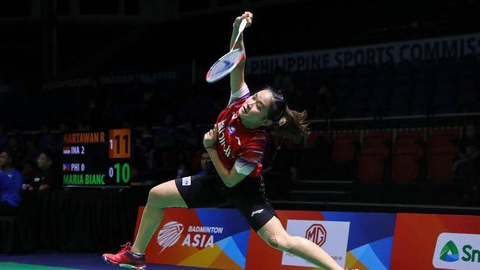Ruselli Hartawan memenangi partai ketiga duel Indonesia vs Filipina di Kejuaraan Bulutangkis Beregu Asia 2020 di Manila, Filipina.