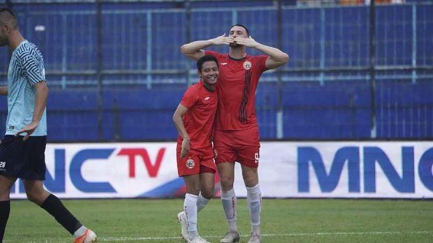 Marko Simic saat mencetak hattrick ke gawang Persela Lamongan. (