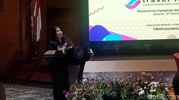 Ketua Umum ASITA Nunung Rusmiati dalam Konferensi Pers ASITA WISE Travel Fair 2020 di Gedung Sapta Pesona, Rabu (12/2/2020).