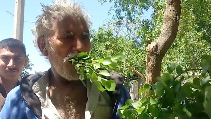 pria pakistan hanya makan daun dan kayu