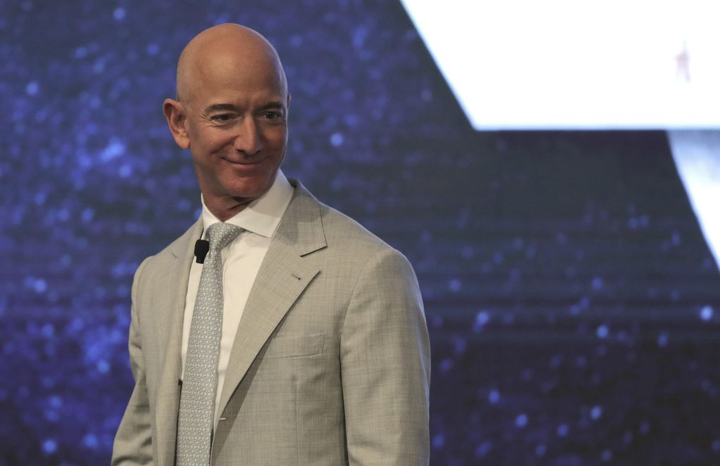 Amazon founder Jeff Bezos during the JFK Space Summit at the John F. Kennedy Presidential Library in Boston, Wednesday, June 19, 2019. (AP Photo/Charles Krupa)