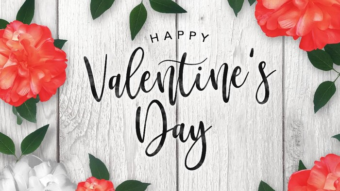 Happy Valentines Day Celebration Text Over Red Roses Border with Rustic Whitewashed Wood Background