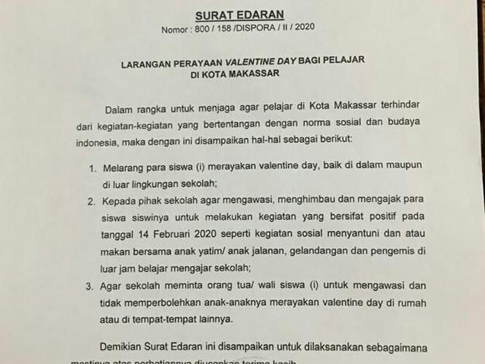 Surat edaran Pemkot Makassar soal larang siswa merayakan valentine.